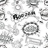Seamless pattern comic speech bubbles sound effects vector illustration