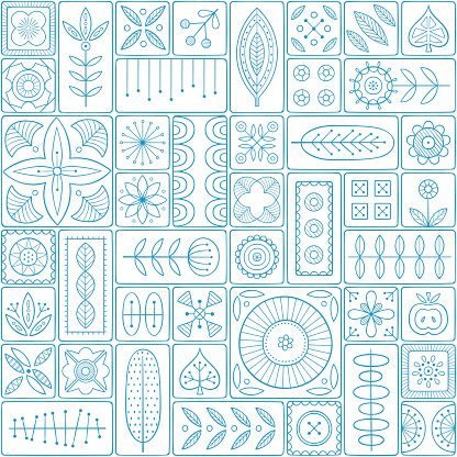 Seamless pattern consisting of tiles with Scandinavian motifs