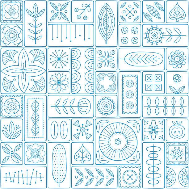 illustrations, cliparts, dessins animés et icônes de motif sans couture composé de carreaux avec des motifs scandinaves - suede