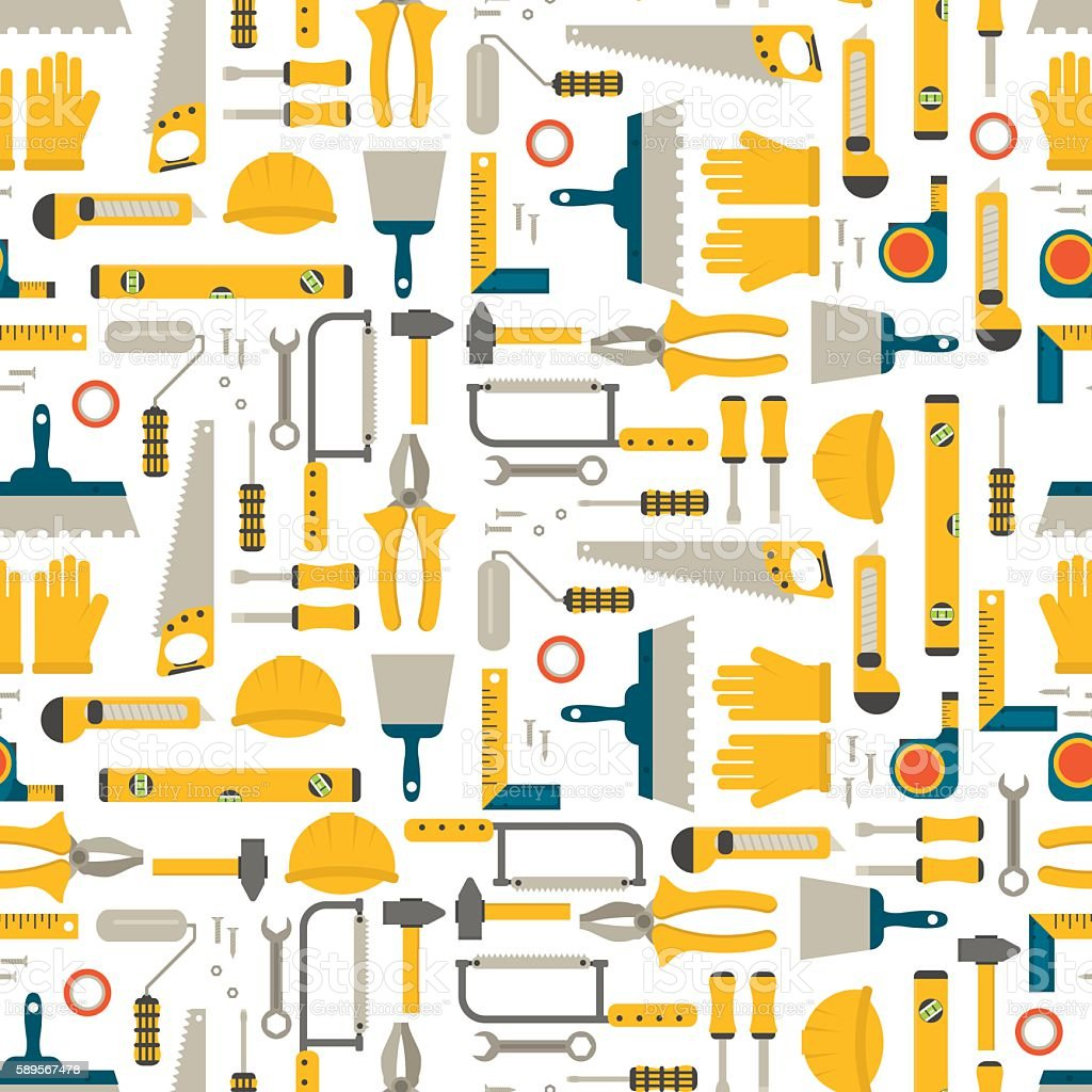 Seamless pattern construction tools vector. vector art illustration