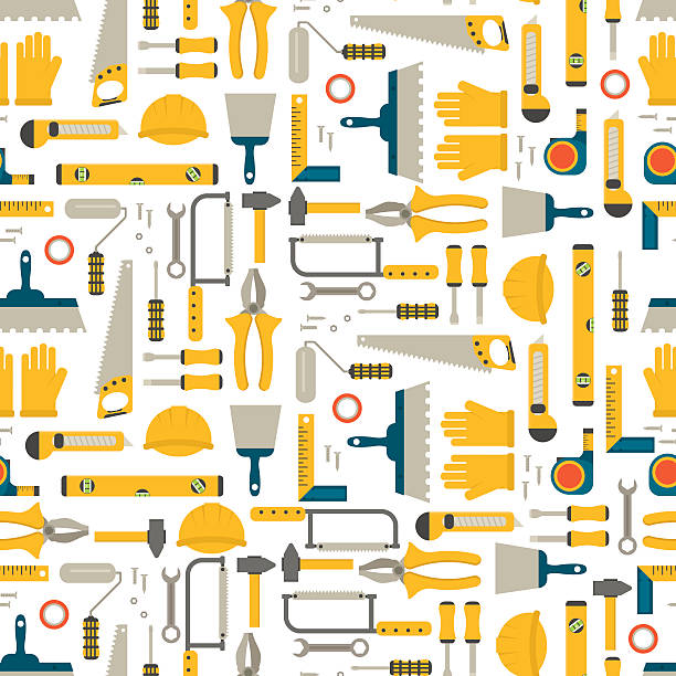 Seamless pattern construction tools vector. Seamless pattern construction tools vector equipment tool. Carpenter working table construction tools. Carpentry instrument spanner woodwork industry flat lay concept construction tools hammer work. diy stock illustrations