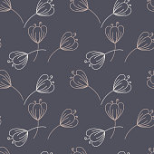 Seamless pattern. Contours of simple flowers with stem. Vector Hand drawing background.