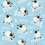 Fully editable vector illustration of a seamless artwork depicting counting sheep ready for use as a repeated tile fill pattern.