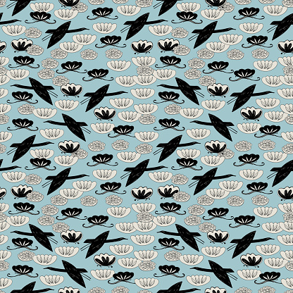Seamless pattern cranes, swans herons birds fly, water lily simple lines asian japanese chinese style blue gray black background. trend of the season. Can be used Gift wrap fabrics, wallpapers. Vector