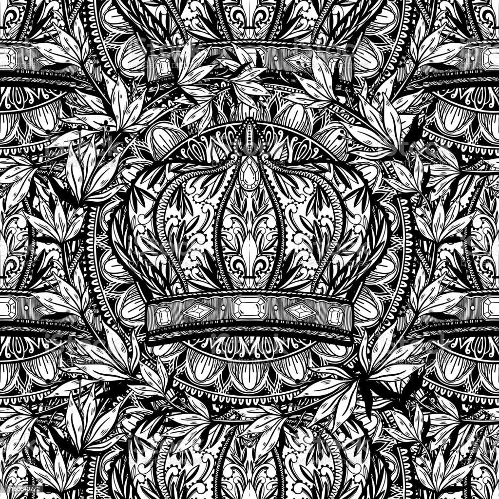 Seamless pattern crown king and queen elegant drawing art. Black...