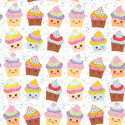 Seamless pattern Cupcake Kawaii funny muzzle with pink cheeks and winking eyes, pastel colors on white background. Vector