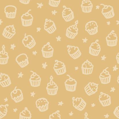 seamless pattern: cupcakes