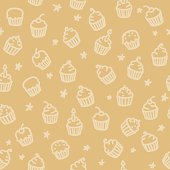 seamless pattern with cute cupcake  hand drawn elements