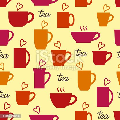 Seamless pattern. Cups of tea with hearts. Print for kitchen textile. Cozy background.