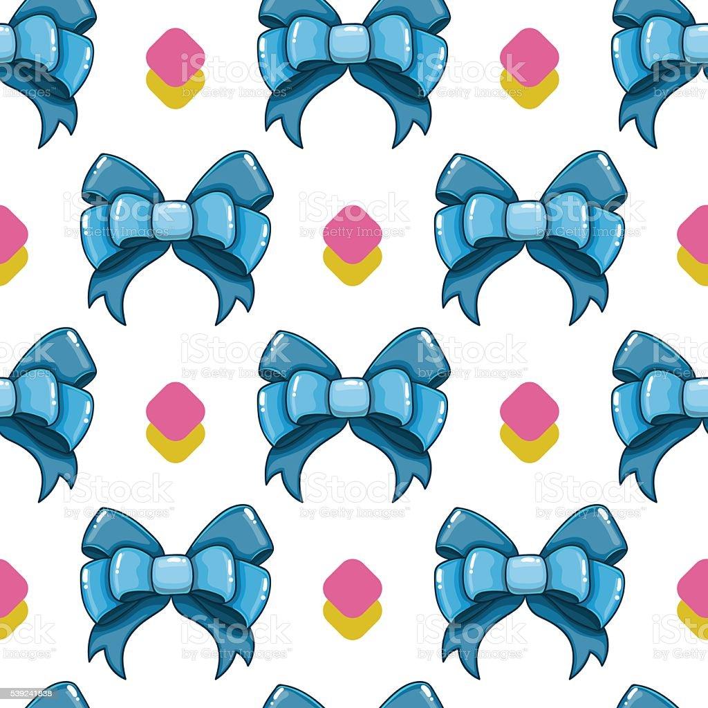 Patrón continuo de dibujos animados lindo bows - 5 ilustración de patrón continuo de dibujos animados lindo bows 5 y más banco de imágenes de accesorio personal libre de derechos