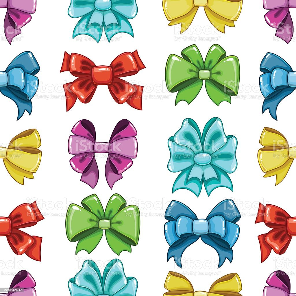 Seamless pattern cute cartoon bows-7 royalty-free seamless pattern cute cartoon bows7 stock vector art & more images of arts culture and entertainment