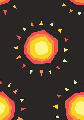 Seamless pattern cute cartoon sun