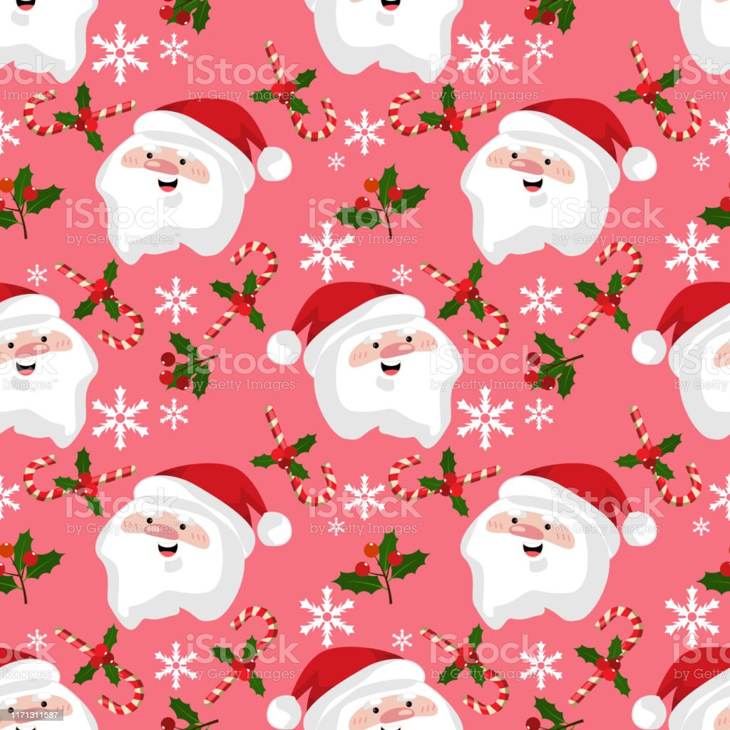 seamless pattern cute christmas holidays cartoon character background vector id1171311587