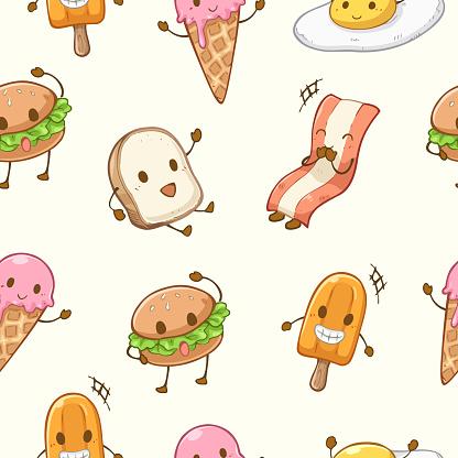 Seamless pattern cute food character cartoon