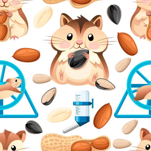 nahtlose muster. niedliche hamster sitzen und halten eine sonnenblumenkerne und mutter. hamsterkäfig, rad und automatische trinker. cartoon-charakter-design. flache vektor-illustration auf weißem hintergrund - hamsterhaus stock-grafiken, -clipart, -cartoons und -symbole