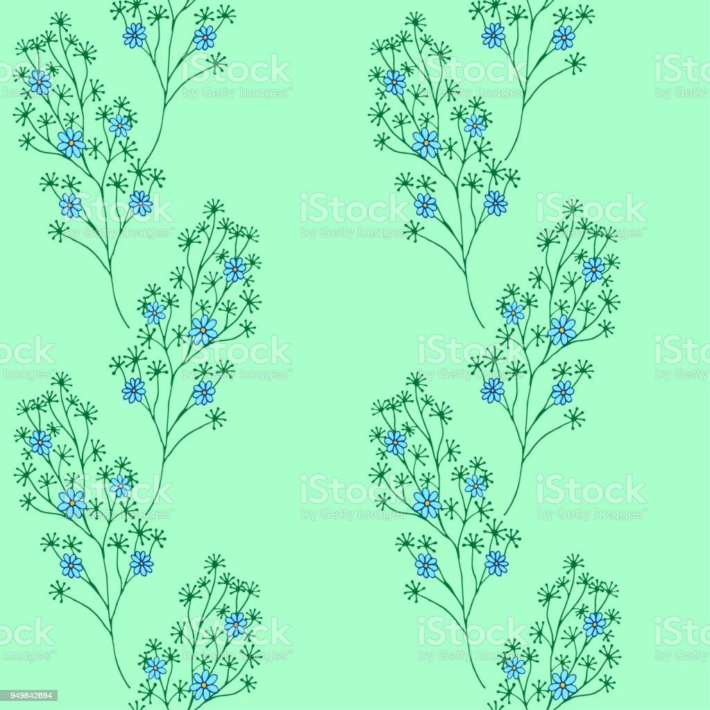 Seamless Pattern Cute Pattern In Small Flower Small Blue And Yellow