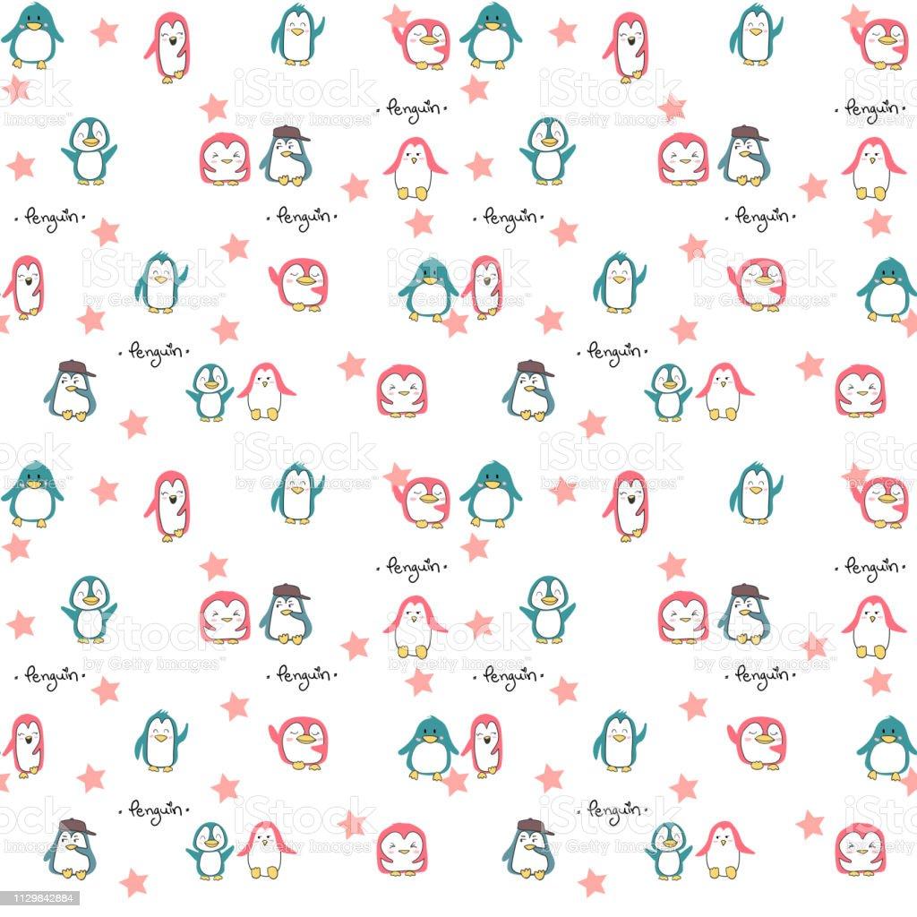 sem costura padrão rosa e azul verde pinguins fofos - ilustração de arte em vetor