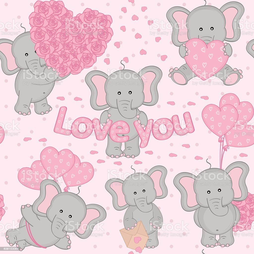 Seamless pattern with cute valentine elephant Vector Image