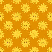 Seamless pattern. Cute yellow sun with face and smile on an orange background. Vector illustration. Design, decor, packaging, printing, textiles, summer illustrations.
