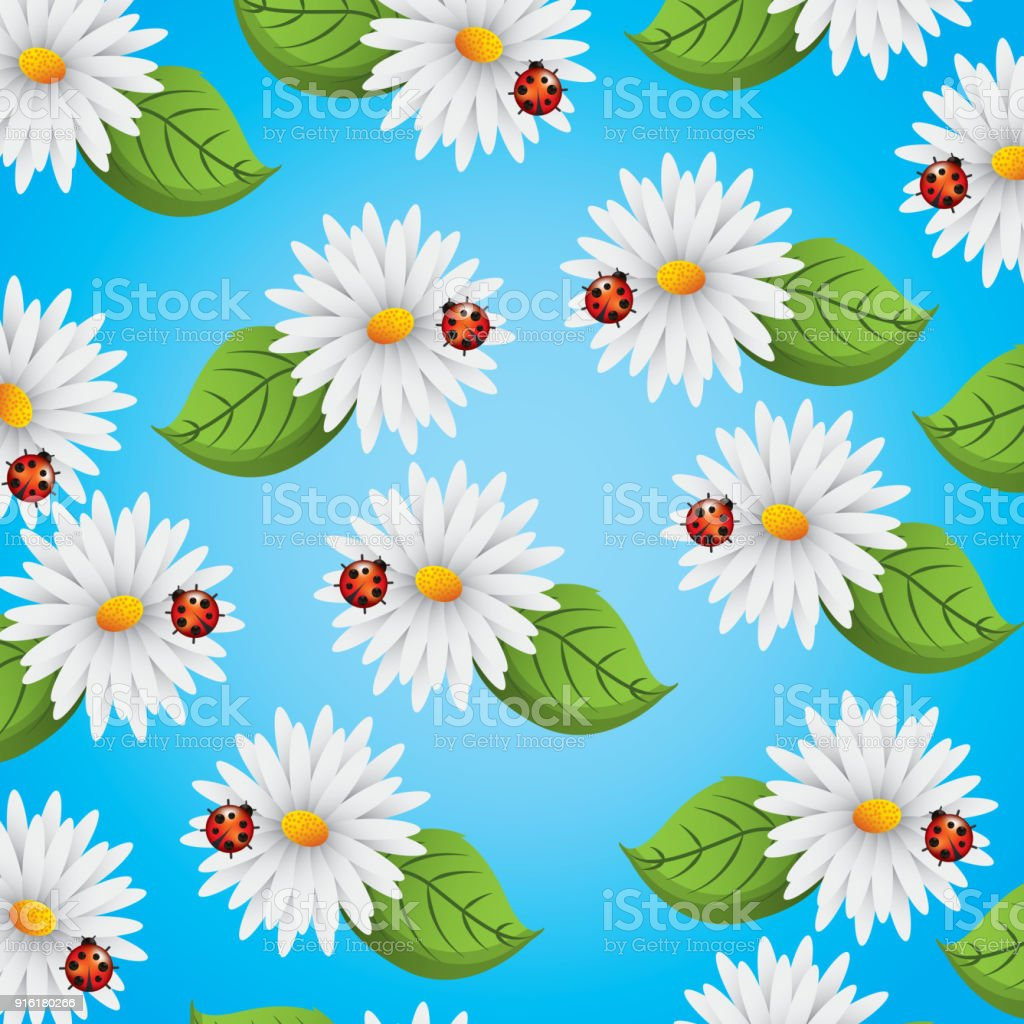 Seamless Pattern Daisies Flowers Ladybug And Leaves Natural Stock
