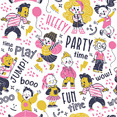 Seamless pattern design, hand drawn multiethnic happy kids smiling, jumping isolated and lettering. Kids zone banner, packaging paper, party card invitation, gift decor. Hand drawn vector illustration