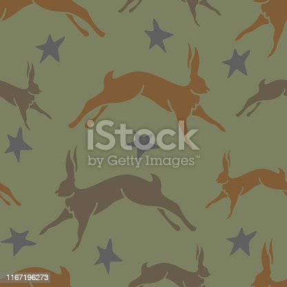 Repeat vector pattern with hares and stars. Beautiful fashion design for textile, wallpaper, wrapping paper.