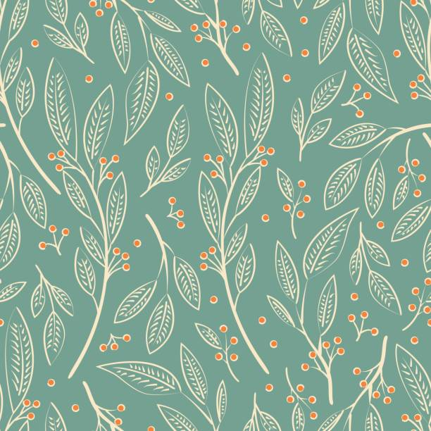 Seamless pattern design with hand drawn flowers and floral elements, vector illustration vector art illustration