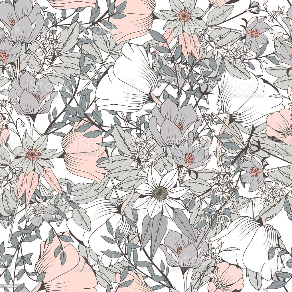 Seamless pattern design with hand drawn flowers and floral elements vector art illustration