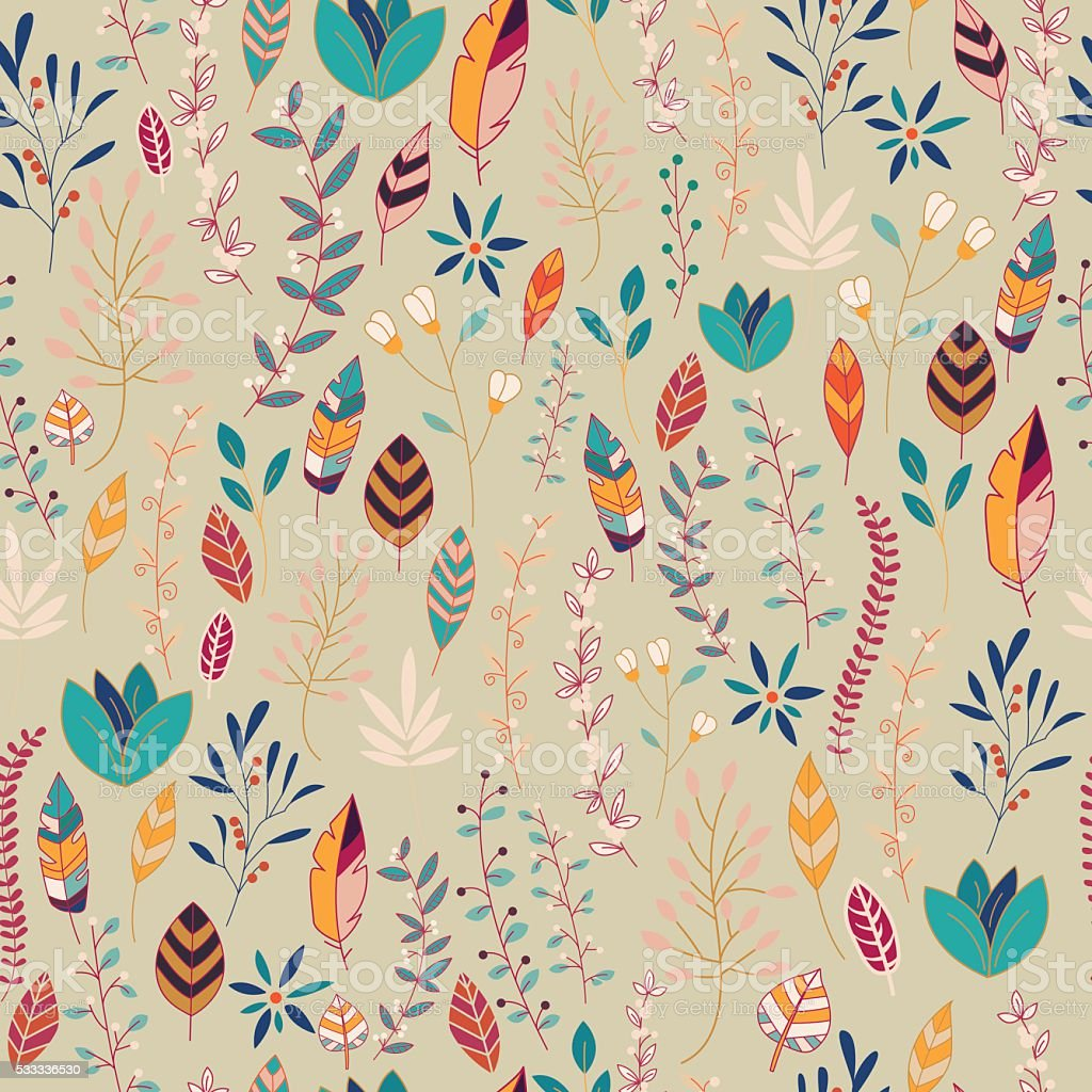 Seamless pattern design with hand drawn flowers, floral elements, feathers vector art illustration