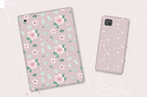 Seamless pattern design with watercolor pastel pink flowers and leaves
