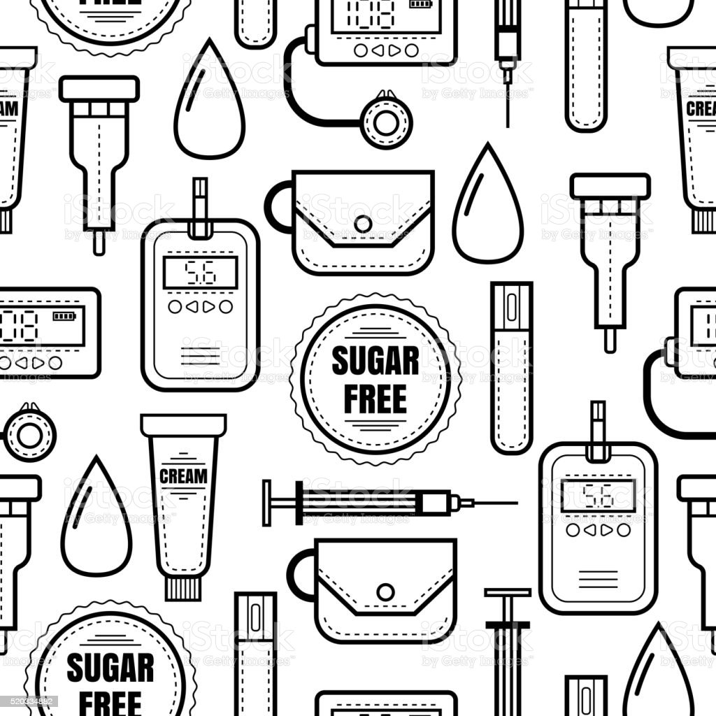 Seamless pattern. Diabetes. Medical colored flat icons. vector art illustration