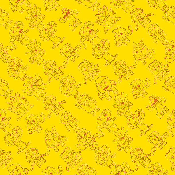 Seamless Pattern Doodle Characters Vector illustration of a seamless background with funny doodle characters. One line art layer only, the background is transparent. The colors in the .eps-file are ready for print (CMYK). Included files: EPS (v8) and Hi-Res JPG. doodle NOT black and white stock illustrations