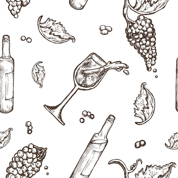 Seamless pattern drawing Seamless pattern drawing on a white background bottle and wineglass wine with spills. The vine and berries drawing of a glass liquor flask stock illustrations