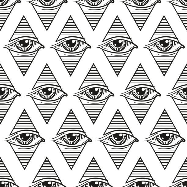 ojo de patrones sin fisuras en un rombo, en el estilo de tatuajes - ilustración de arte vectorial