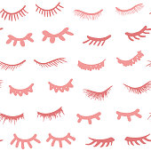 Seamless pattern. Eyelashes cartoon background. Cute closed doodle eyes. Pretty woman hand drawn lashes, sleeping girl. Vector illustrations.