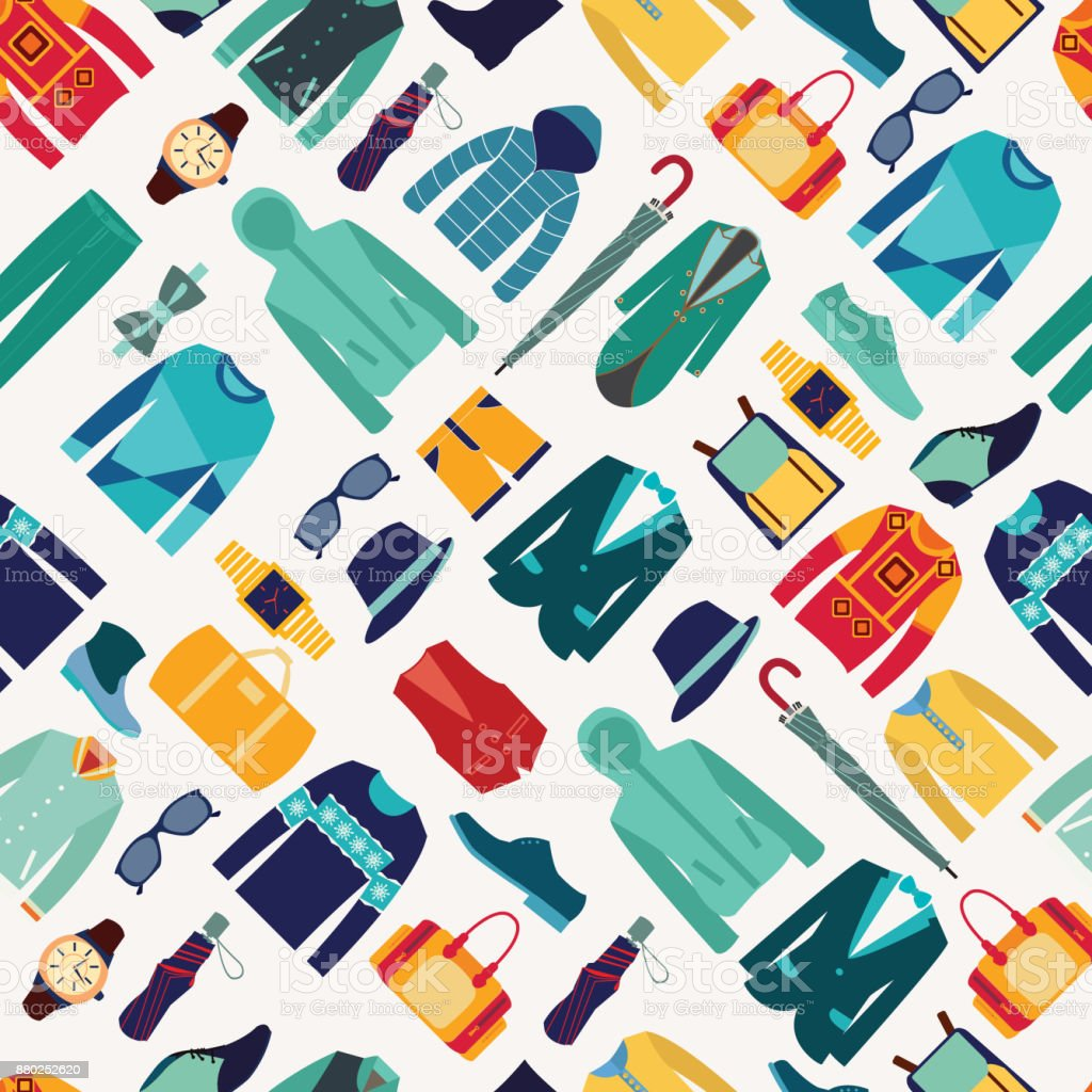 seamless pattern fashionable mens wear background vector art illustration