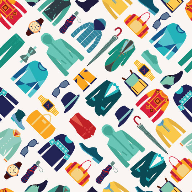 seamless pattern fashionable mens wear background - mens fashion stock illustrations, clip art, cartoons, & icons