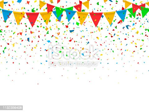 Seamless pattern colorful flags garland and confetti. Carnival garland with pennants for birthday celebration, festival and fair decoration. Colorful confetti falling on a white background. Vector