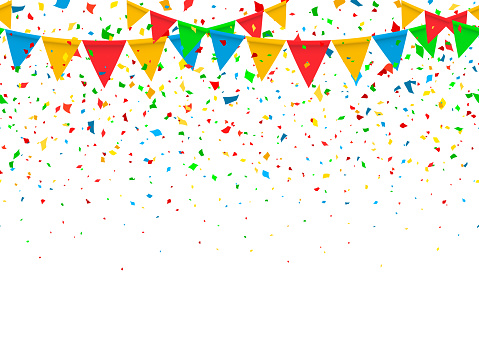 Seamless pattern festive flags and confetti