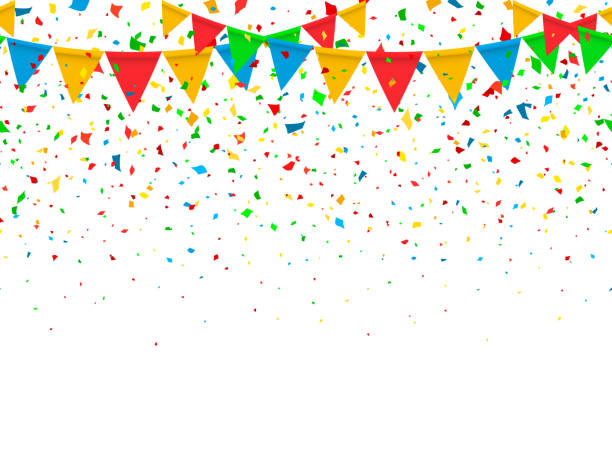 Seamless pattern festive flags and confetti Seamless pattern colorful flags garland and confetti. Carnival garland with pennants for birthday celebration, festival and fair decoration. Colorful confetti falling on a white background. Vector birthday background stock illustrations