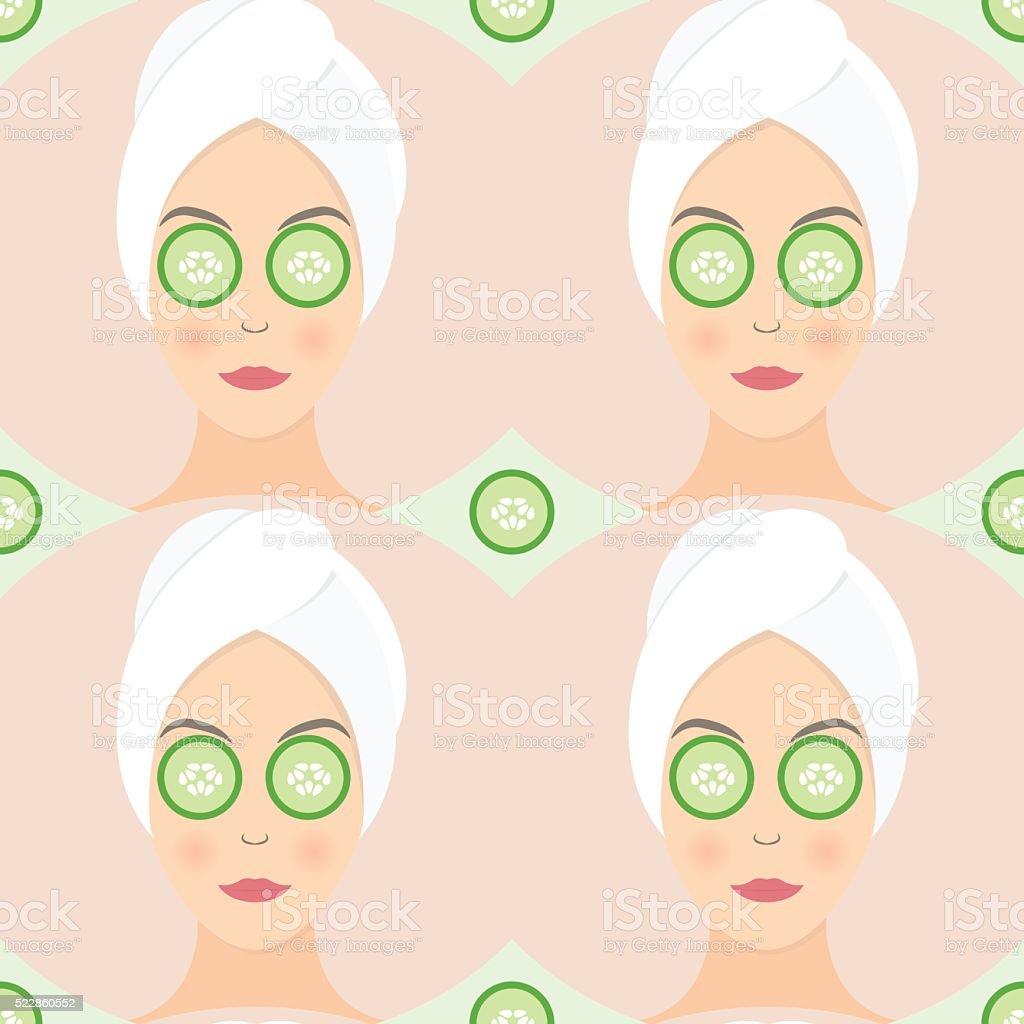 Nahtlose Musterung flache Design einer Frau mit Maske – Vektorgrafik