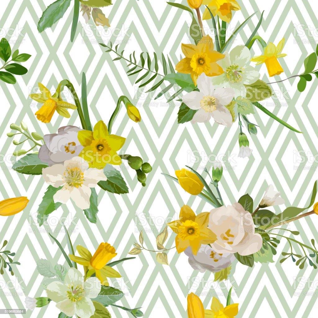 Motivo Senza Interruzioni Sfondo Floreale Primavera Fiori Sfondo