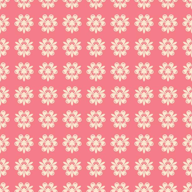 Seamless pattern. Floral beige design on pale pink background vector art illustration