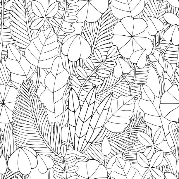 seamless pattern. Floral doodle background pattern in vector with leaves. Black and white Coloring book. Monochrome. Seamless pattern. Floral doodle background pattern in vector with leaves. Black and white Coloring book. Monochrome. coloring book pages templates stock illustrations