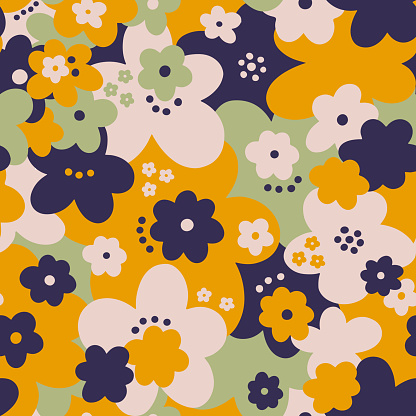 Seamless pattern floral flower abstract.Botanical vintage nature background.Print fashion textile