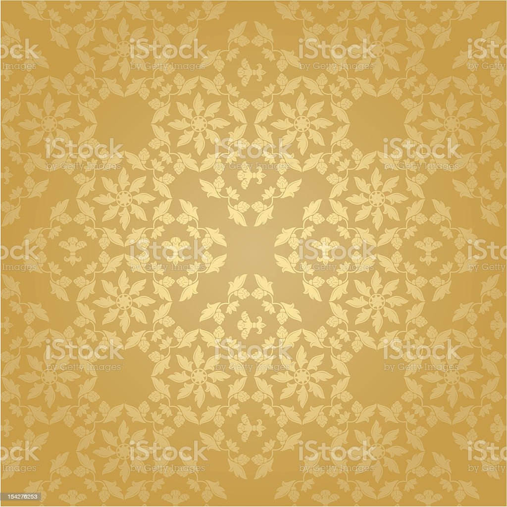Seamless pattern, floral gold background royalty-free stock vector art