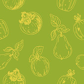 istock seamless pattern floral, sketch fruits. vector illustration  in doodle style of apple,garnet,pear,persimmon. 1311497526