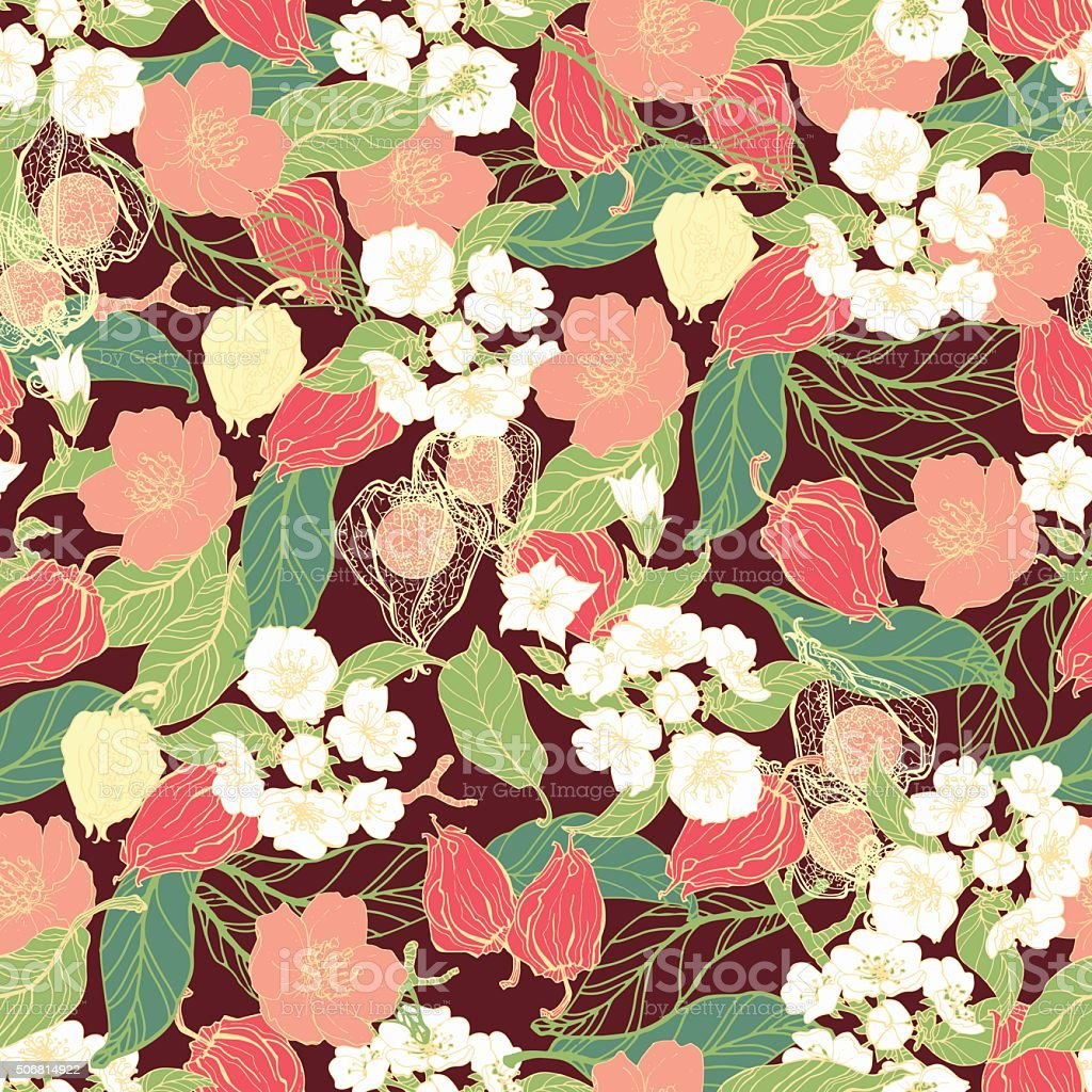 Patrón sin costuras floral - ilustración de arte vectorial