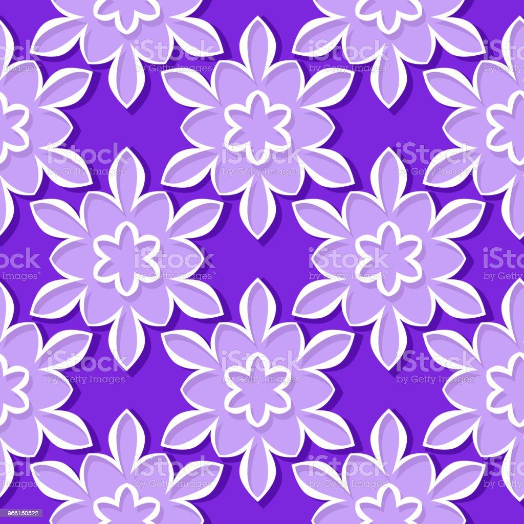 Seamless mönster. Blommig viol och lila 3d bakgrund - Royaltyfri Abstrakt vektorgrafik