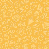 assorted food ingredients in a seamless pattern. you can just drop into your swatches and use as a tiling fill.